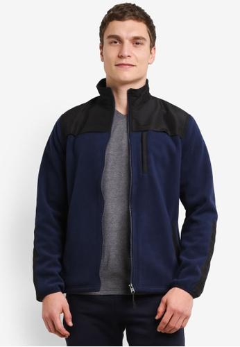 Burton Menswear London blue and navy Navy Fleece Jacket BU964AA0SHNUMY_1