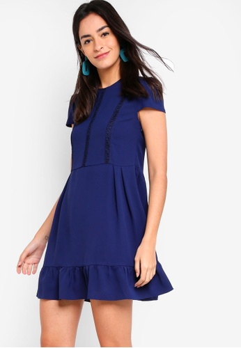 ZALORA navy Gathered Swing Dress With Trims 23EA0AA8D7C23EGS_1