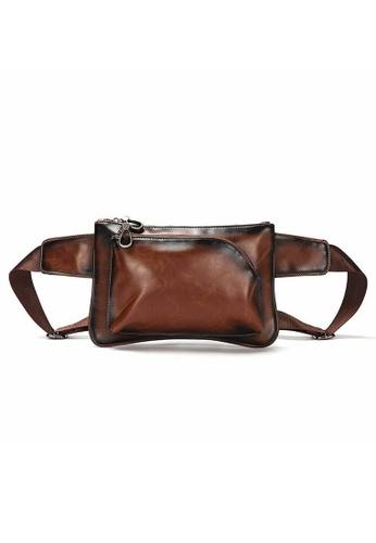 Lara brown Plain Zipper Belt Bag - Brown 971CAAC595EA03GS_1