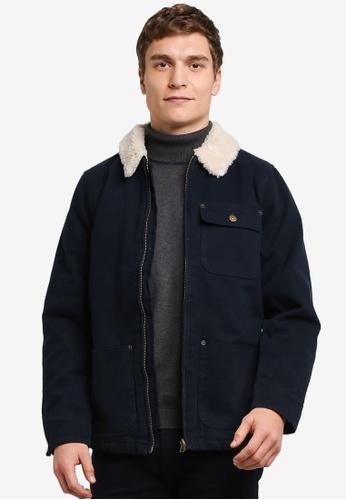 Burton Menswear London blue and navy Blue Borg Collar Worker Jacket BU964AA0S2AYMY_1