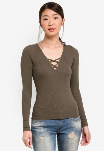 Miss Selfridge green Long Sleeve Lattice Top A54B9AA5659185GS_1