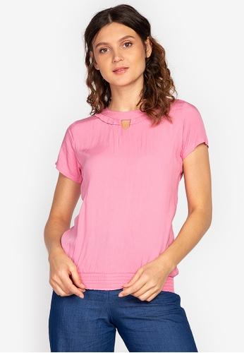 No Apologies pink Woven Plain Rayon Short Sleeve Blouse 9448DAA27A1B63GS_1
