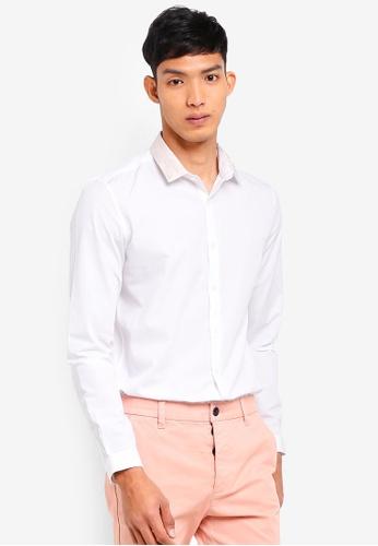 Topman 白色 提花長袖襯衫 F8143AAB2426AAGS_1