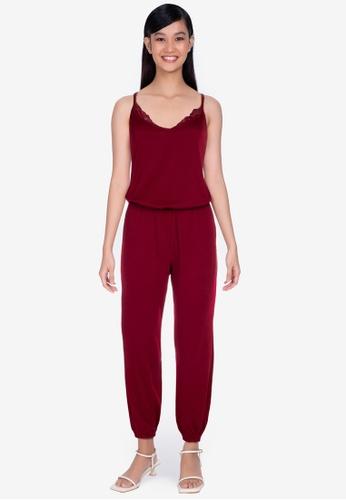 ZALORA BASICS 紅色 Lounge Lace Trim Jumpsuit C1944AA6B16DDEGS_1