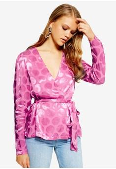 d625d0d857126e TOPSHOP pink Spot Jacquard Wrap Top 80725AA5B5C84CGS 1