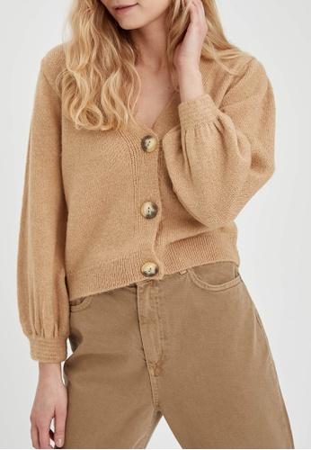 DeFacto brown Long Sleeve Tricot Cardigan 26CEDAAF7D7F2DGS_1