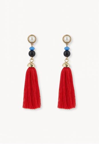 Pomelo red Beaded Tassel Drop Earrings - Red 34BA4AC5C4E96CGS_1