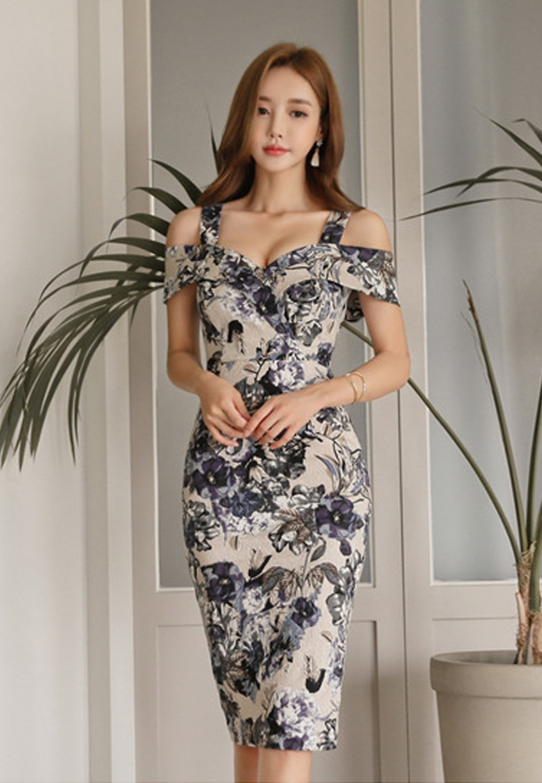 New Dress CA041805 Strap 2018 Floral Piece S Multi One Off S Shoulder Sunnydaysweety SawqAaCExT