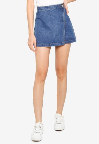 ZALORA BASICS blue Wrap Over Denim Mini Skirt 86466AA6BBBF66GS_1