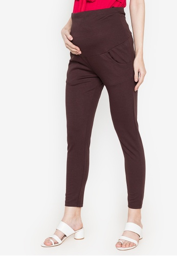 BUNTIS brown Paulette Maternity Pants with Pouch A918BAAC219761GS_1