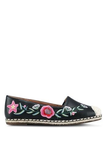 Something Borrowed black Floral embroidered espadrilles 2ED05SHA9ED4ECGS_1