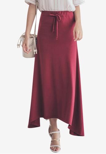 Tokichoi red Flared Plain Maxi Skirts CC9A7AAE90E45EGS_1