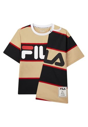 FILA beige FILA × Maison MIHARA YASUHIRO Colour Blocks FILA Logo Cotton T-shirt With Asymmetric Hem A624BAA8A623EEGS_1