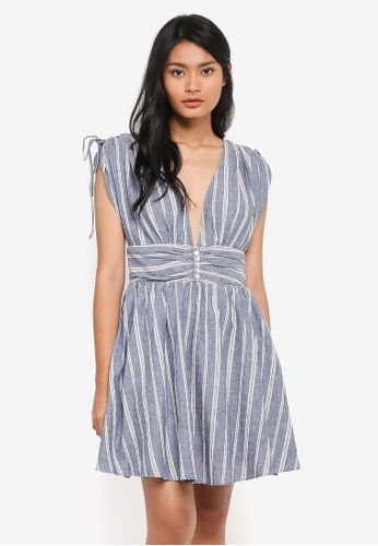 Free People blue Roll The Dice Striped Dress EBBC1AAF84E9F6GS_1
