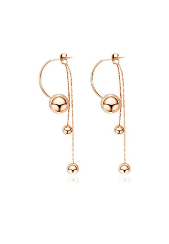 CELOVIS gold CELOVIS - Atlas Ball Drop and Dangle Ear Jacket Stud Earrings in Rose Gold 7EC81ACE198363GS_1