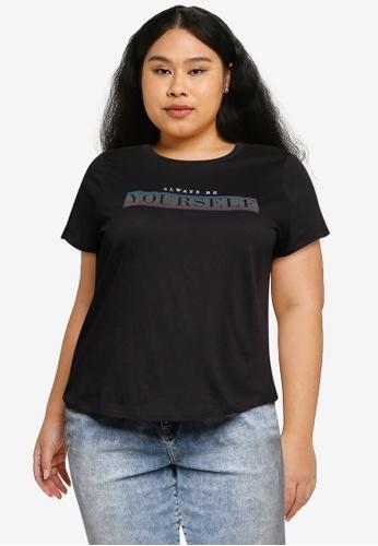 Vero Moda black Plus Size Gioging T-shirt D34B8AA1541AF8GS_1