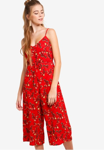 Something Borrowed red Button Down Jumpsuit 4CCFEAA34E05AEGS_1