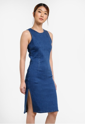 Something Borrowed blue Cut In Denim High Slit Dress 081D7ZZ2BCEF74GS_1
