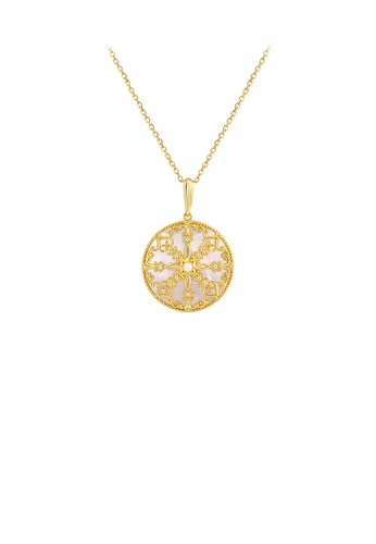 Glamorousky silver 925 Sterling Silver Plated Gold Elegant Vintage Pattern Geometric Round Pendant with Necklace 75978AC1AD46A6GS_1