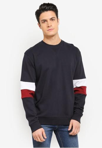 MANGO Man blue and navy Cotton Contrast Panels Sweatshirt MA449AA0T1FMMY_1