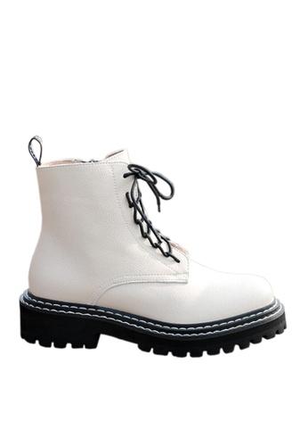 Twenty Eight Shoes white VANSA Pebbled Cow Leather Combat Boots VSW-B1987 0B5DCSHB28F188GS_1