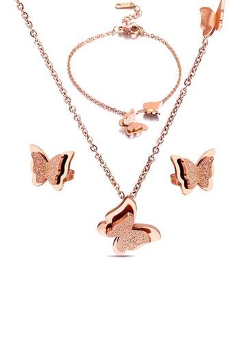 CELOVIS gold CELOVIS - Queen Alexandra Butterfly Necklace + Bracelet + Earrings Jewellery Set in Rose Gold 52086AC493FACAGS_1