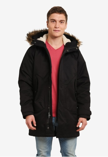 Abercrombie & Fitch black Parka Jacket AB423AA0SBP9MY_1