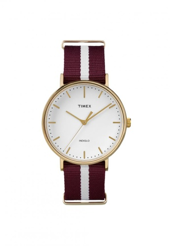 TIMEX red and gold Timex The Fairfield - Nylon Strap - Gold Case (TW2P97600) TI857AC64QQTSG_1