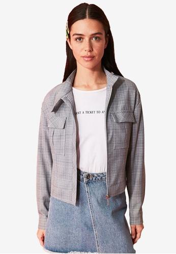 Trendyol grey Plaid Pocket Zip-Through Jacket 6C426AA4EC3ACBGS_1