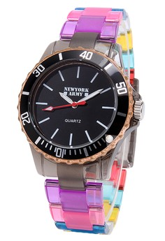 Newyork Army Women's Black Dial Multicolor Transparent Strap Watch NYA102