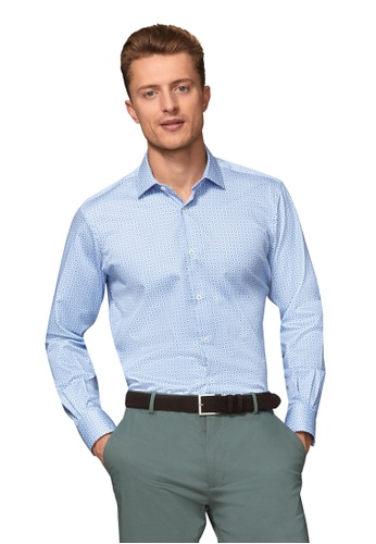T.M. LEWIN blue T.M.Lewin Slim Fit Blue Geometric Shirt E5B66AA6561BC3GS_1