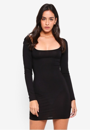 MISSGUIDED black Long Sleeve Scoop Front & Back Bodycon Dress 4221DAAC935AE7GS_1
