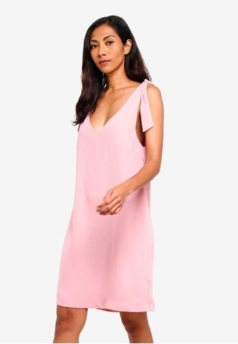 ZALORA BASICS pink Basic Shoulder Tie Mini Dress AA576AAC678CEFGS_1