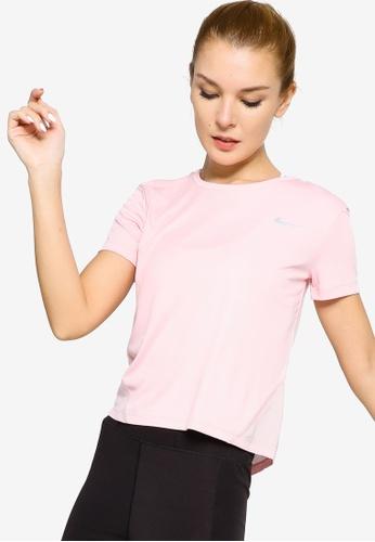 Nike pink Women's Miler Short-Sleeve Running Top 142C1AA44BC338GS_1