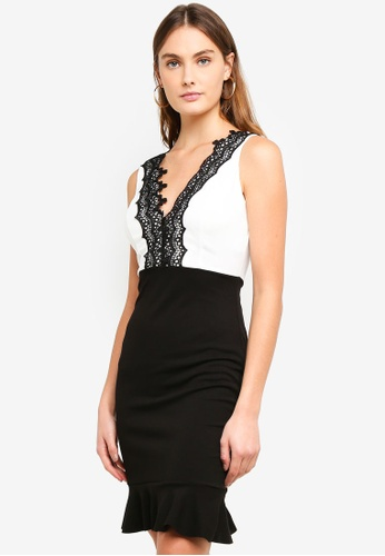 WALG black and white and multi Contrast Dress With Black Lace Detail 3CE09AA40731D0GS_1