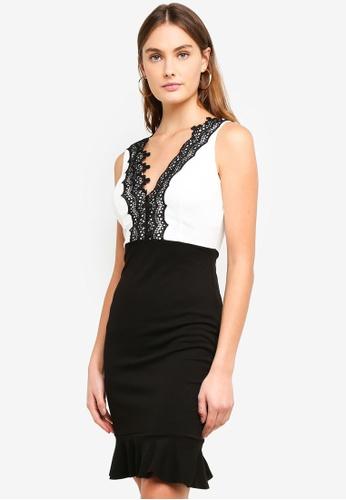 1790a818fad57 Buy WALG Contrast Dress With Black Lace Detail | ZALORA HK