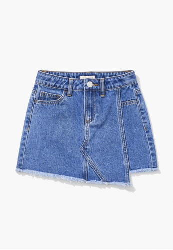 FOREVER 21 blue Frayed Denim Skirt C98D9KA6C72A47GS_1