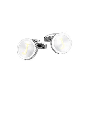 Glamorousky silver Fashion Simple English Alphabet J Round Cufflinks E782FAC94064B5GS_1