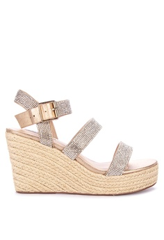 cf2e0eced07a Steve Madden gold Valery-r Leather Solid Tone Metallic Wedge Sandals  18D98SH30BBAABGS 1