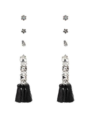 Red's Revenge black and white 4-In-1 Frozen Gems Tassel & Studs Earrings Set E39BEAC2CA556DGS_1