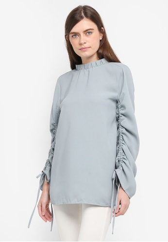 Zalia blue High Neck Drawstring Sleeve Top 2C925AA9707D9FGS_1