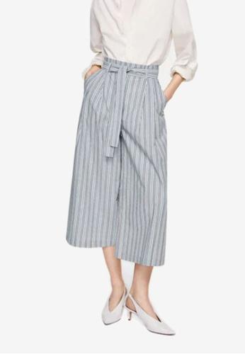 Mango grey Striped Crop Trousers 20CCAAAA148B55GS_1