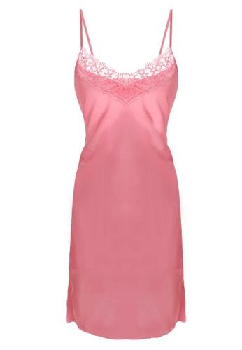 SMROCCO pink Isla Silk Spagetti Strap Dress Nightie Sleepwear PM8056-PI 0997FAA61EA038GS_1