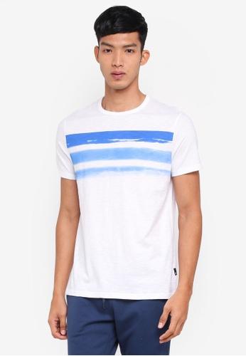 Burton Menswear London white White Wave Chest Stripe T-Shirt DF5DDAACDB9D3EGS_1
