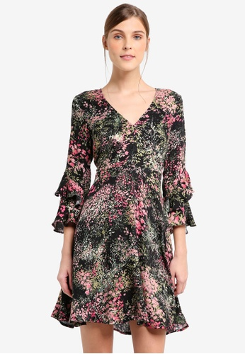WAREHOUSE black Wild Floral Tea Dress 42B74AACBBF6CEGS_1