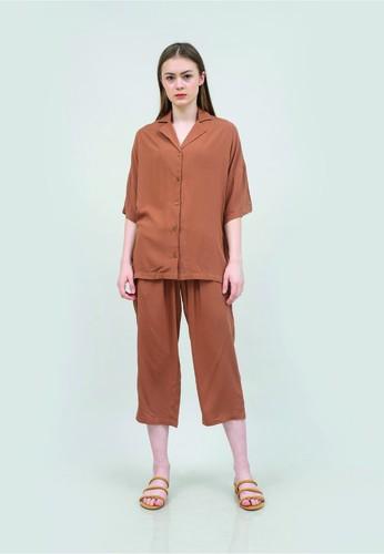 Kai Essentials brown Kai Essentials Lucia Pajamas Set Cinnamon 0EF8EAA96877C2GS_1