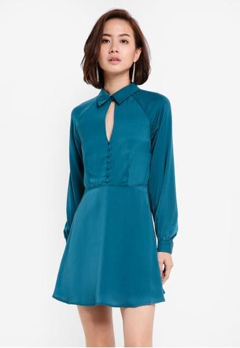 ZALORA green and blue Long Sleeve Keyhole Button Dress 085B9ZZ682C104GS_1