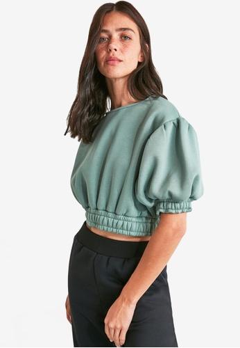 Trendyol green Bubble Sleeve Crop Sweatshirt A36BAAA437DB40GS_1
