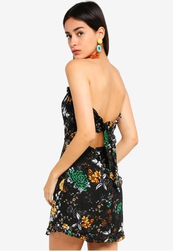 INDIKAH black Printed Ruffle Bustier Sheath Dress 3761FAA2071C24GS_1