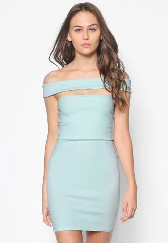 露肩鏤空貼esprit品牌介绍身連身裙, 服飾, 洋裝